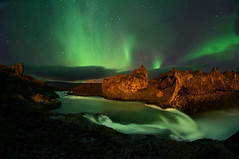 Land Of The Falen Gods (Geralttt) Tags: sky water night river landscape waterfall rocks aurora astronomy unusual borealis godafoss earthandspace bestnewcomer competition:astrophoto=2013