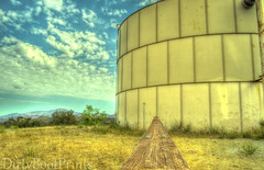 Water Tower (DirtyBootPrints) Tags: wood old blue sky horses brown west green tower art nature water field yellow clouds fence weeds peace desert pov hiking rustic perspective dream fences hike dirty dirt fields environment layers hdr