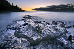 Sunrise over the North Shore of Lake Superior with puple rock-Lovas-7090-P.jpg (Nathan Lovas Photography) Tags: usa nature water minnesota outdoors landscapes midwest unitedstates outdoor lakes northshore land northamerica sunrises mn lakesuperior northwoods
