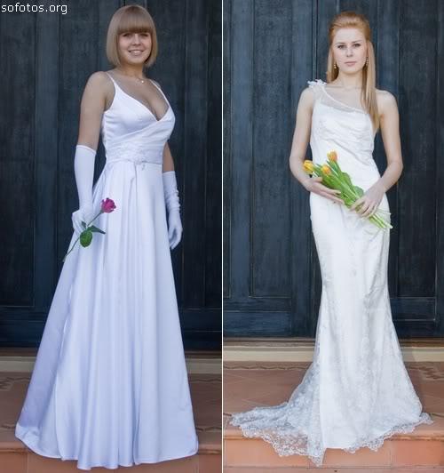 Dois vestidos de noiva com alças