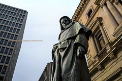 Judiciary Legacy    (francisling) Tags: street building statue bronze zeiss 35mm t justice george spring cityscape chief sony treasury australia melbourne cybershot victoria judge legacy sonnar       rx1 higinbotham    dscrx1
