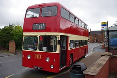 Can I see your licence Sir? (Mr Anchovy) Tags: bus heritage stone stokeontrent preserved pops staffordshire doubledecker leyland weymann longton pmt atlantean gladstonepotterymuseum potteriesmotortraction potteriesomnibuspreservationsociety 766evt
