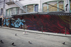 Word on a Wing (Generik11) Tags: sf red art architecture graffiti pigeons newspapers murals sfist lango