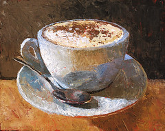Cappuccino-Italiano (ChristopherClarkArt) Tags: original italy stilllife food art coffee painting cafe italian paint artist fine christopher daily clark painter oil impressionism espresso latte cappuccino impressionist caffe paletteknife