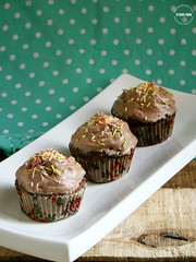 Eggless Microwave Chocolate Muffins with Cocoa Whipped Cream Frosting (lubnakarim06) Tags: chocolate recipes easy cocoa frosting whippingcream chocolatemuffins muffinliners eggless happychildrensday festivalscelebrations microwaverecipes