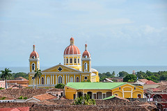 The Cathedral of Granada, Seen From La Merced Church (Rosita So Image) Tags: sky building church architecture clouds colorful cathedral granada nicaragua