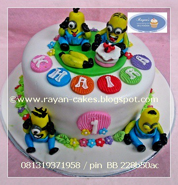 Awesome Minions Despicable Me Birthday Cakes Fondant Rayan Cakes Kue Funny Birthday Cards Online Inifofree Goldxyz
