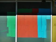 Have You Done Your Art Homework Son? (Steve Taylor (Photography)) Tags: blue shadow red newzealand christchurch streetart colour green art window paper graffiti pages tag canterbury nz southisland a4