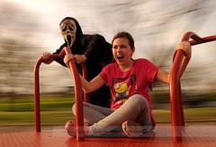 Don't Fear The Reaper (disgruntledbaker1) Tags: pink blue red motion blur halloween nikon mask reaper fear go dont scream round cult 1855mm merry oyster panning the d90 disgruntledbaker1