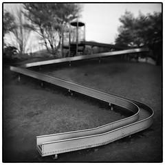 The Slide (Masahiko Kuroki (a.k.a miyabean)) Tags: bw square noiretblanc slide explore 山梨 笛吹市 fujixe1 fujifilmsuperebcxf2841855mm 八代ふるさと公園