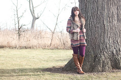 Plum Pudding (Katie Burry) Tags: out fur dress purple boots plum shift tights tall vest francescas outfitoftheday francescascollections