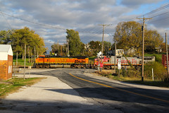 Sailing through Gorin Mo. (Machme92) Tags: railroad sky fall america farm rail trains row bn american rails farms ge skys railfan bnsf railroads railroading atsf railfanning dash9 railfans burligrton