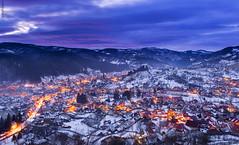 Sunset lights (tudor.ghioc) Tags: sunset colors buildings lights landscapes romania blocks towns rucar