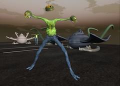 SL Slime Monster and Flugapparat Vehicle (bandolo_magnesi) Tags: monster funny zombie avatar ufo sl secondlife vehicle spaceship slime skinned flugapparat meshavatar