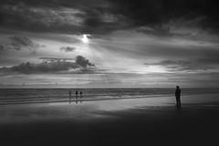 The guardian ! (Vel's Photography) Tags: family sunset sea blackandwhite seascape beach beautiful kids clouds oregon evening seaside gray shore astoria sunrays hammond fortstevensstatepark oregoncoastal sony1635f4 sonya7rii