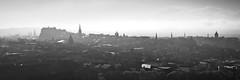 Edinburgh Skyline (ShinyPhotoScotland) Tags: camera city light urban blackandwhite panorama mist art nature monochrome weather fog composite manipulated lens landscape photography scotland haze edinburgh unitedkingdom places equipment backlit toned hdr contrejour lothian salisburycrags radicalroad haar gbr hugin digikam tonemapped olympuspenf rawconversion enfuse rawtherapee olympus1260mmf28