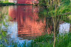 Red Reflections (Pt. 1) (tquist24) Tags: park red reflection green water reflections river bristol geotagged spring nikon unitedstates indiana bonneyvillemillcountypark littleelkhartriver nikond5300