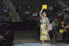 Yellow card for technical difficulties at United Methodist General Conference (United Methodist News Service) Tags: woman usa church oregon portland technology unitedstates religion christianity unitedmethodistchurch yellowcard generalconference oregonconventioncenter denomination