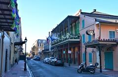 021015-938F (kzzzkc) Tags: morning usa lamp hotel nikon streetlight louisiana day post balcony neworleans streetscene frenchquarter bourbonstreet arnauds shuttered mortorcycle jazzbistro d7100