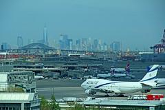 Late Saturday Afternoon at EWR (craigsanders429) Tags: newyorkcity jets boeing airports airlines 747 airliners 747400 jetliners newarklibertyinternationalairport israelairlines regionaljets oneworldtradecenter elaljets