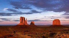 sunset at Monument Valley Tribal Park, Utah - off for two weeks! (birdsongPics) Tags: park blue light sunset red summer sky orange usa sun monument nature beautiful yellow clouds landscape dawn utah colorful fuji zoom sunny wideangle valley fujifilm monumentvalley paysage landschaft goldenhour