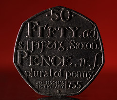 50 Pence Coin (1selecta) Tags: shadow red money metal silver words coin angle 7 used cash number numbers penny lettering 50 highlight dictionary dents saxon angled highlighted raised fifty legaltender sidelighting dented 1755 50p shdows heptagon sidelight fiftypence 50pence shapeofconstantwidth johnstonsdictionary 50pbit fiftypencebit