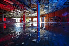 Red-Blue Ballroom (Notley) Tags: blue roof light red lightpainting reflection abandoned water puddle evening midwest interior reflect missouri ballroom redlight bluelight 2016 leakyroof 10thavenue notley ruralphotography boonecountymissouri ruralusa notleyhawkins missouriphotography httpwwwnotleyhawkinscom notleyhawkinsphotography