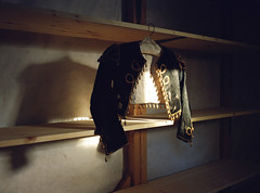 Bullfighter Costume, Jouy-en-Josas, October 2015 ( Stanley Bloom) Tags: light shadow dark gold costume fuji suit bullfighter 6x8 gsw680