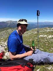 Enjoying a beer on the summit of Monte Ginepro (Photo: Edita Nichols) (markhorrell) Tags: walking lazio apennines montiernici