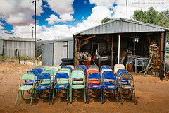 Australia (Robert Lang Photography) Tags: old color colour horizontal clouds rural chair junk rust chairs seat rustic shed australian culture australia bluesky nopeople dirt seats outback junkyard aussie stackedchairs australiana robertlang cloudyday outbackaustralia tinshed cleaningouttheshed australianculture australianshed aussieshed robertlangportlincoln robertlangphotography wwwrobertlangcomau robertlangaustralia