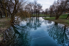 A quite space (marko.erman) Tags: bridge trees sky panorama nature beautiful grass architecture reflections plante river landscape countryside sony calm ciel slovenia serene slovenija grassland extrieur arbre overflow genuine krka romatic kostanjevica kostanjevicanakrki