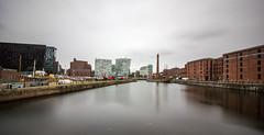 Pumphouse Panorama (cathbooton) Tags: city longexposure urban panorama reflection museum liverpool docks landscape hotel hilton wideangle maritime canoneos pumphouse merseyside greatwesternrailway canonusers leefilters