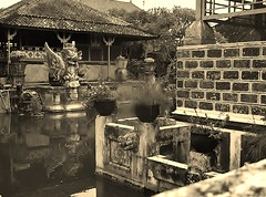 old Bali (SM Tham) Tags: bali plants water monochrome sepia buildings reflections indonesia outdoors island pond asia statues pots watergardens waterfeature stonecarvings royalpalace landscapearchitecture pedestal landscapedesign karangasem amlapura gardenstosee puriagungkarangasem