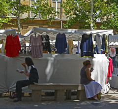 Sometimes, you just don't want to talk, Thursday market, Aix en Provence (lacafferata) Tags: 35mm bench nikon market sandals pizza sycamore backpack flipflops planetrees primelens linenshirts cementbench