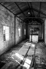 Forgotten (Jon and Sian Bishop) Tags: may 2016 spring warm canon canoneos550d eos550d eos 550d england bath bathford uk blackandwhite indoor texture old monochrome black white sun sunlight window broken abandoned forgotten industry track rail machine derelict machinery silhmetal tin cold