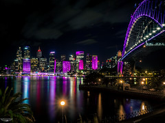 PURPLE VIVID SYDNEY (Laith Stevens Photography) Tags: ocean city bridge color colour skyline reflections wonderful lights long exposure harbour smooth sydney vivid olympus pro f28 omd em1 1240mm