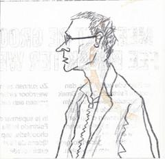 # 170 (18-06-2016) (h e r m a n) Tags: herman illustratie tekening bock oosterhout zwembad 10x10cm 3651tekenevent tegeltje drawing illustration karton carton cardboard portrait portret male man