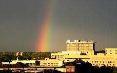 Rainbow Over Uptown Denver (photographyguy) Tags: sunset rain weather rainbow colorado denver uptowndenver