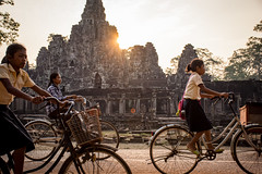 Way to school (nerdigwalking) Tags: cambodia kambodscha asia ruin ruine children school kinder schule bycicle bike fahrrad street sun morning sonne morgen golden hour temple angkor wat tempel southeast drive