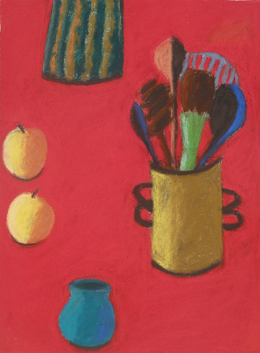 "Kitchen Things with Red Background pastel on paper 30"" x 22"" $1100"
