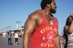 Muscle (dtanist) Tags: nyc newyork newyorkcity new york city sony a7 contax zeiss carlzeiss carl planar 45mm brooklyn coney island boardwalk muscle muscular golds gym