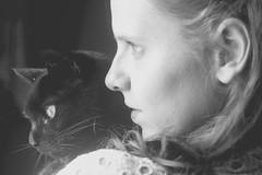(Sarah-Louise Burns) Tags: portrait blackandwhite bw cats girl face cat vintage profile retro balck