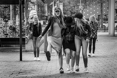 Girls have fun... (fnoothout) Tags: street people monochrome youth fun blackwhite rotterdam thenetherlands streetphotography younggirls nikond7100