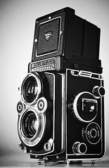 Rolleiflex Camera (daria_darek_photography) Tags: camera old white black sepia rolleiflex zeiss germany retro made carl kamera aparat objektiv fotograficzny