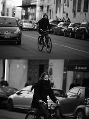 [La Mia Citt][Pedala] (Urca) Tags: portrait blackandwhite bw bike bicycle italia milano bn ciclista biancoenero mir 2016 dittico biciclett nikondigitale ritrattostradale 85586 pedalae