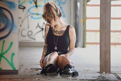 Sara S. (vince_enzo) Tags: urban girl leather fashion rock wall tattoo ink photoshop canon eos focus shoes legs dirty filter roll writer tamron lente murales pelle scarpe lenses inked adandoned 70300 filtro