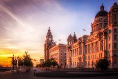 Graced by a Sunset (tony.wish) Tags: city uk sunset england sun architecture liverpool buildings sundown 3graces rx100