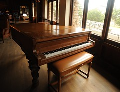 Vintage grand piano, brown wood, bench, wood floor, Asilomar Conference Grounds, Pacific Grove, California, USA (Wonderlane) Tags: california ca usa bench brownwood pacificgrove woodfloor 9757 asilomarconferencegrounds 800asilomarblvd vintagegrandpiano