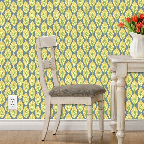 mod peace lilies wallpaper (yellow, green, blue-gray)