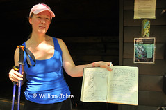 Funny entry and drawing in log book at Tumbling Run Shelter (Throwingbull) Tags: park sport book log funny humorous hiking pennsylvania 14 humor hike pa trail national rhonda hiker hikers appalachian activity shelter sec section shelters